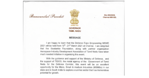 Greeting message from the Hon'ble Governor of Tamil Nadu